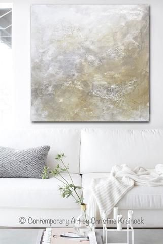 ORIGINAL Art Abstract Painting Neutral X LARGE White Grey Taupe Beige Modern Textured Coastal Wall Decor 48x48