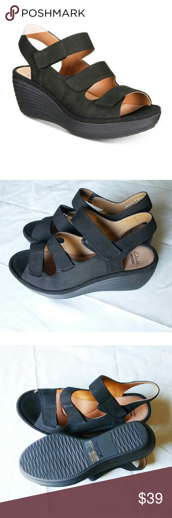 feb0e7bb80e Clarks Black Reedly Juno Wedge Sandal Size.7.5 Stay comfortable in style  with these like