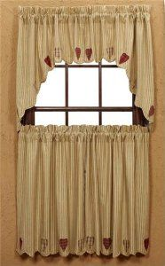 Heartland Country Curtain Tiers With Scalloped Edge By Nancys Nook 3895 Applique Hearts 100 Cotton The