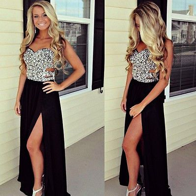 Long Black Prom Ball Party Dresses Slit Bead Formal Evening Cocktail Gown 2015