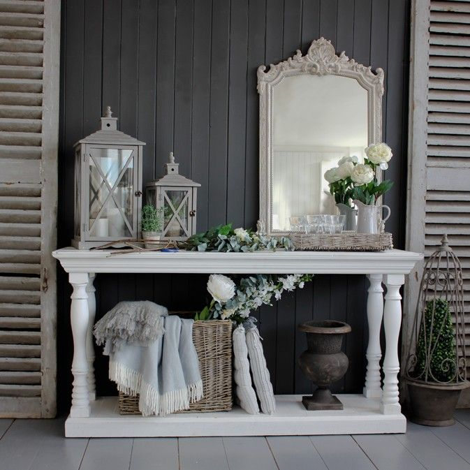 Large Distressed White Console Table Foyer Decorating Decor