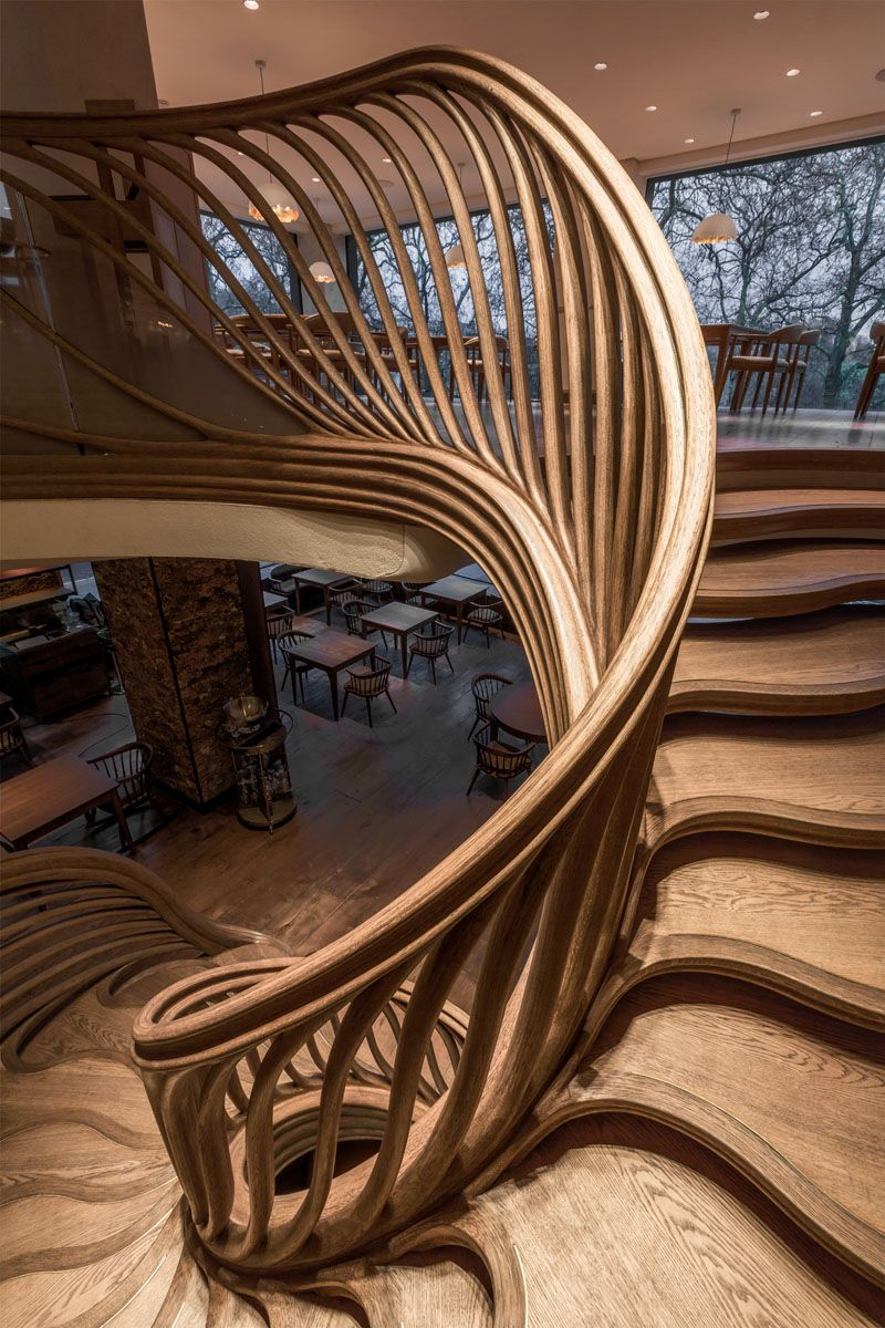 Best Sculptural Wood Staircase By London Based Art 640 x 480