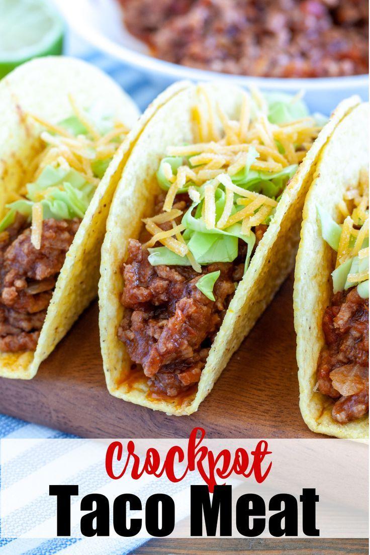 Crockpot Taco Meat Food Lovin Family In 2020 Crock Pot Tacos Crockpot Taco Meat Slow Cooker Tacos