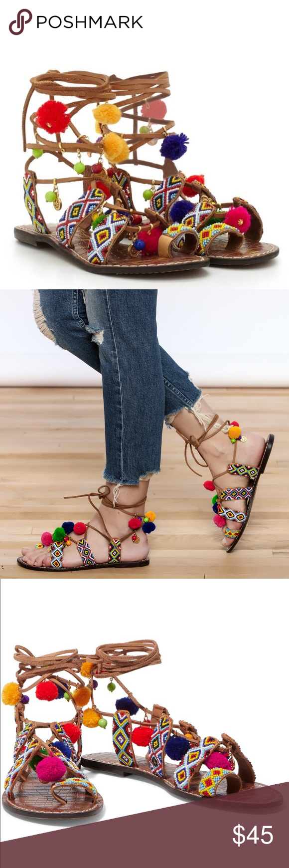 c0e377b3e Sam Edelman Leather Lisabeth Beaded Sandals! NWT! Sam Edelman Lisabeth Open  Toe Genuine Leather