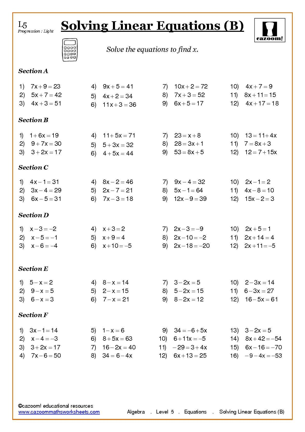 medium resolution of Algebra with Cazoom Maths   Algebra worksheets