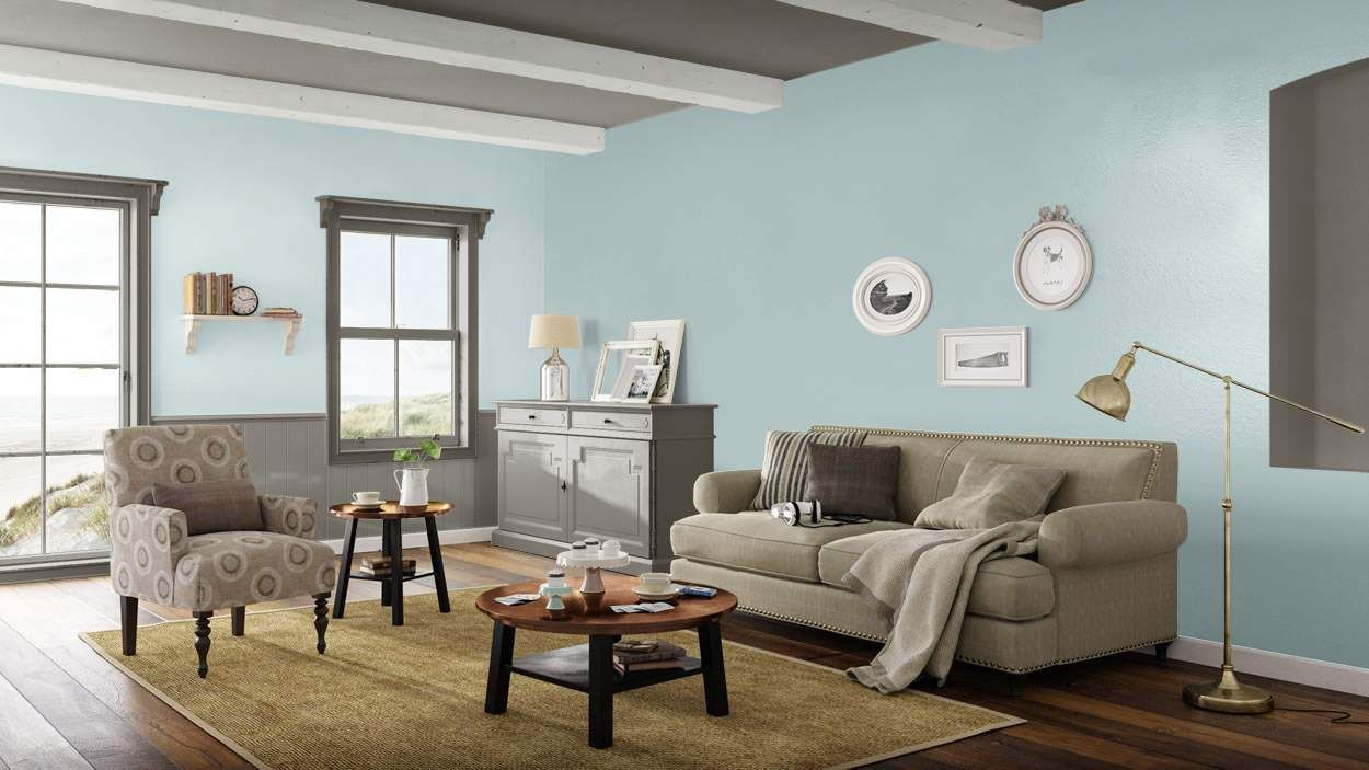 Coastal Cottage living room  #BenjaminMoore #DBWM #DreamDigsSweeps
