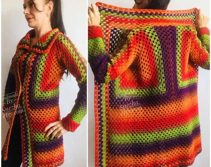 Rainbow Granny Square Knit Crochet CARDIGAN Colourful Sweater | Etsy