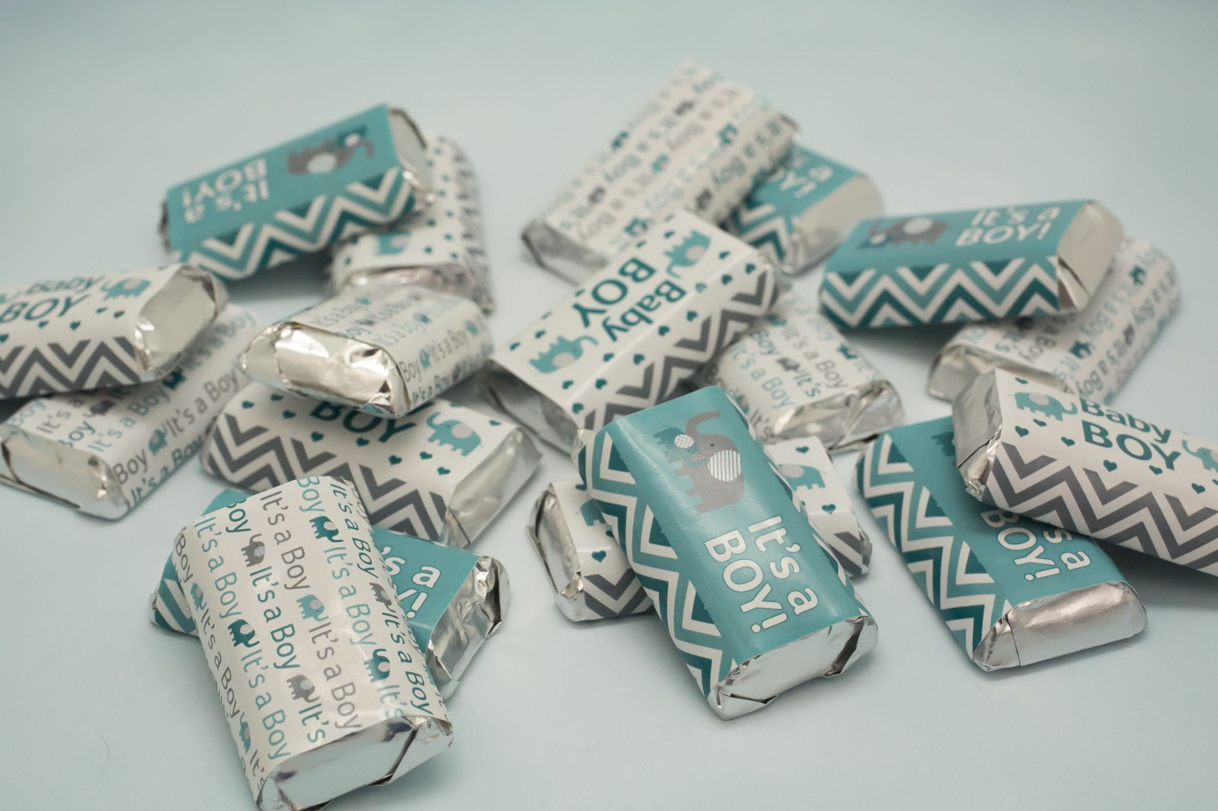 Baby Boy Shower Favor It/'s a Boy Baby Shower Candy Wrapper for Hershey Miniatures Blue White Baby Shower Decoration 45ct