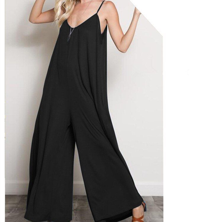 Womens Casual V Neck Sleeveless Spaghetti Strap Jumpsuit Long Pants