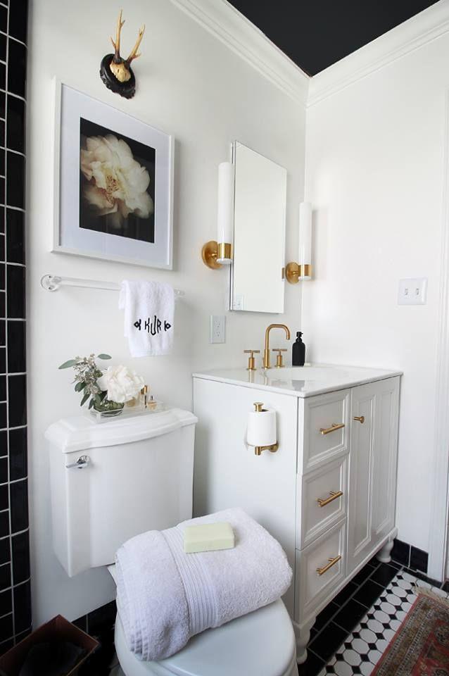Gorgeous White Vanity U0026 Sink With Black Roof And Black U0026 White Flooring