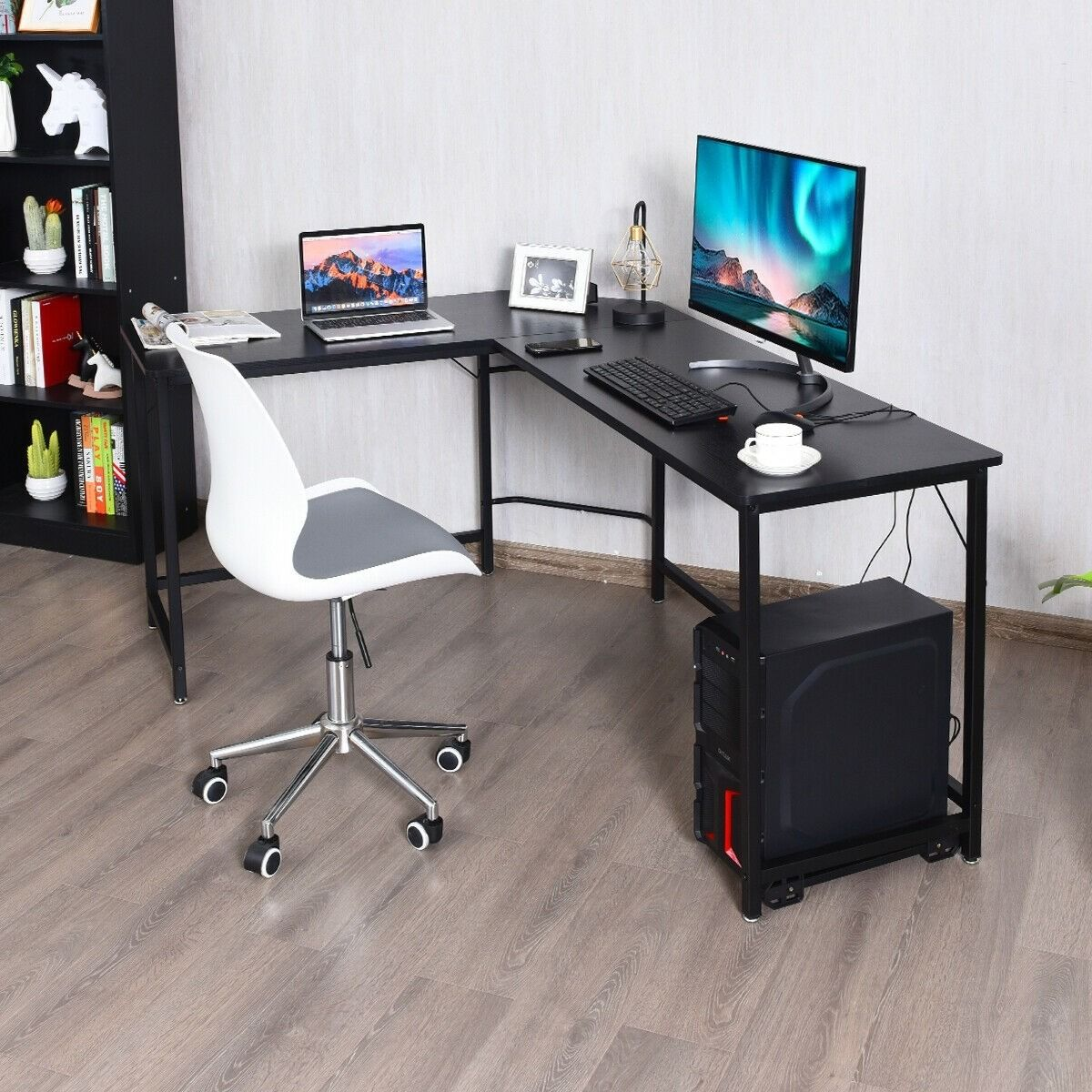 L Shaped Corner Computer Desk Laptop Gaming Table Workstation
