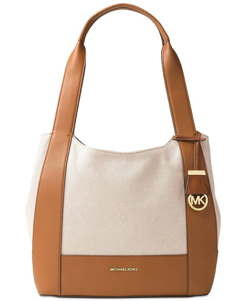 dd0f258e8eb33a Michael Kors Marlon Leather Canvas Large Shoulder Bag Tote Cream Acorn  Brown #MichaelKors #ShoulderBag