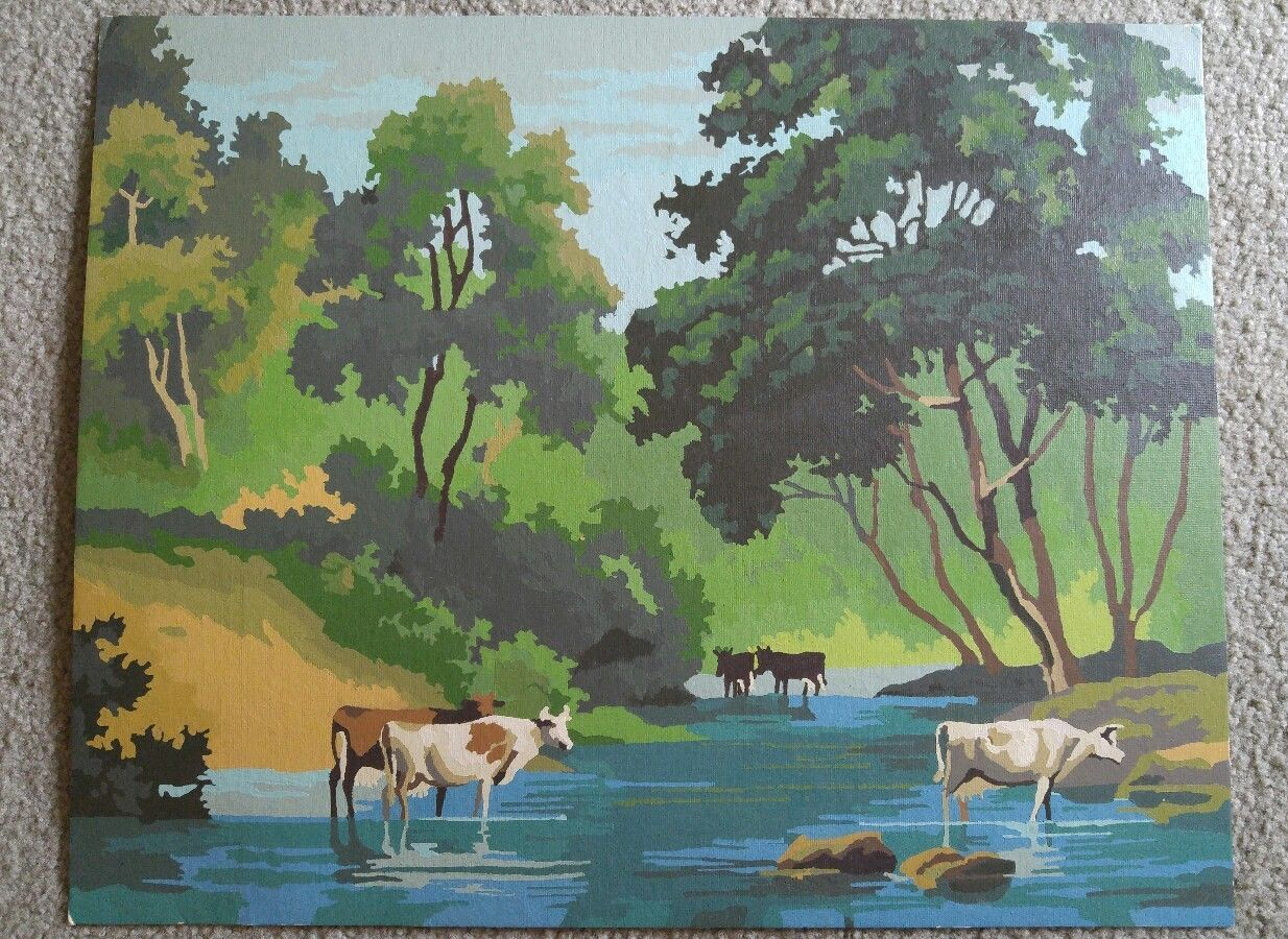 Vintage Paint By Number Cows Farm Scene River Country Meadow 16