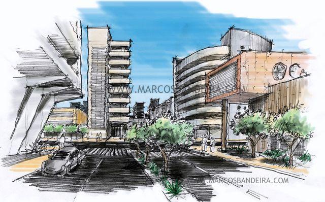 Arquitetura e Desenho  Croquis e Sketchbook Pro - Desenho de ambiente urbano 829697be49bb