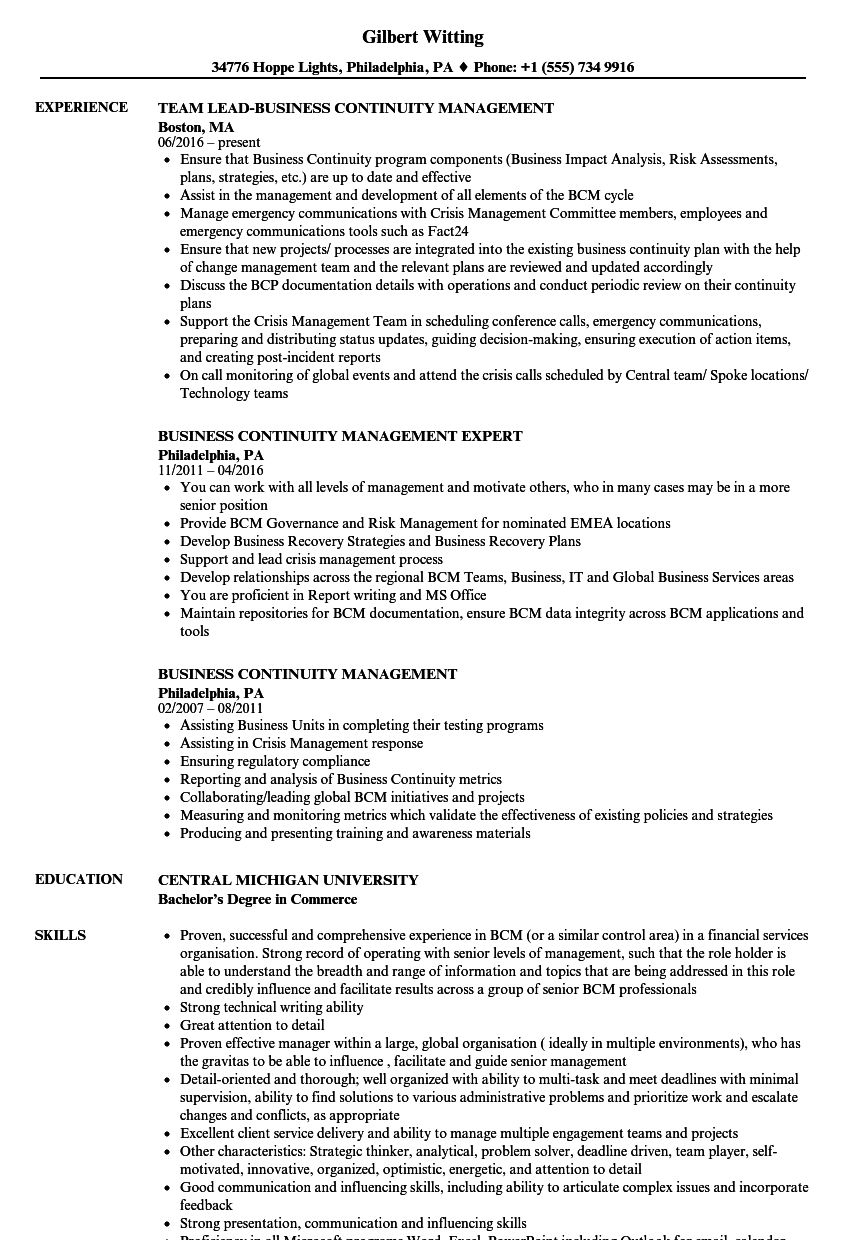 The captivating Business Continuity Management Resume