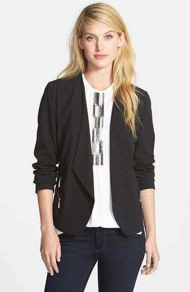 Classic Black Blazer (with a modern twist) - Vince Camuto Collarless Double Zip Pocket Jacket | Nordstrom