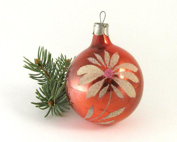 Soviet Christmas tree decoration Red Xmas ball by RealTreasureBox