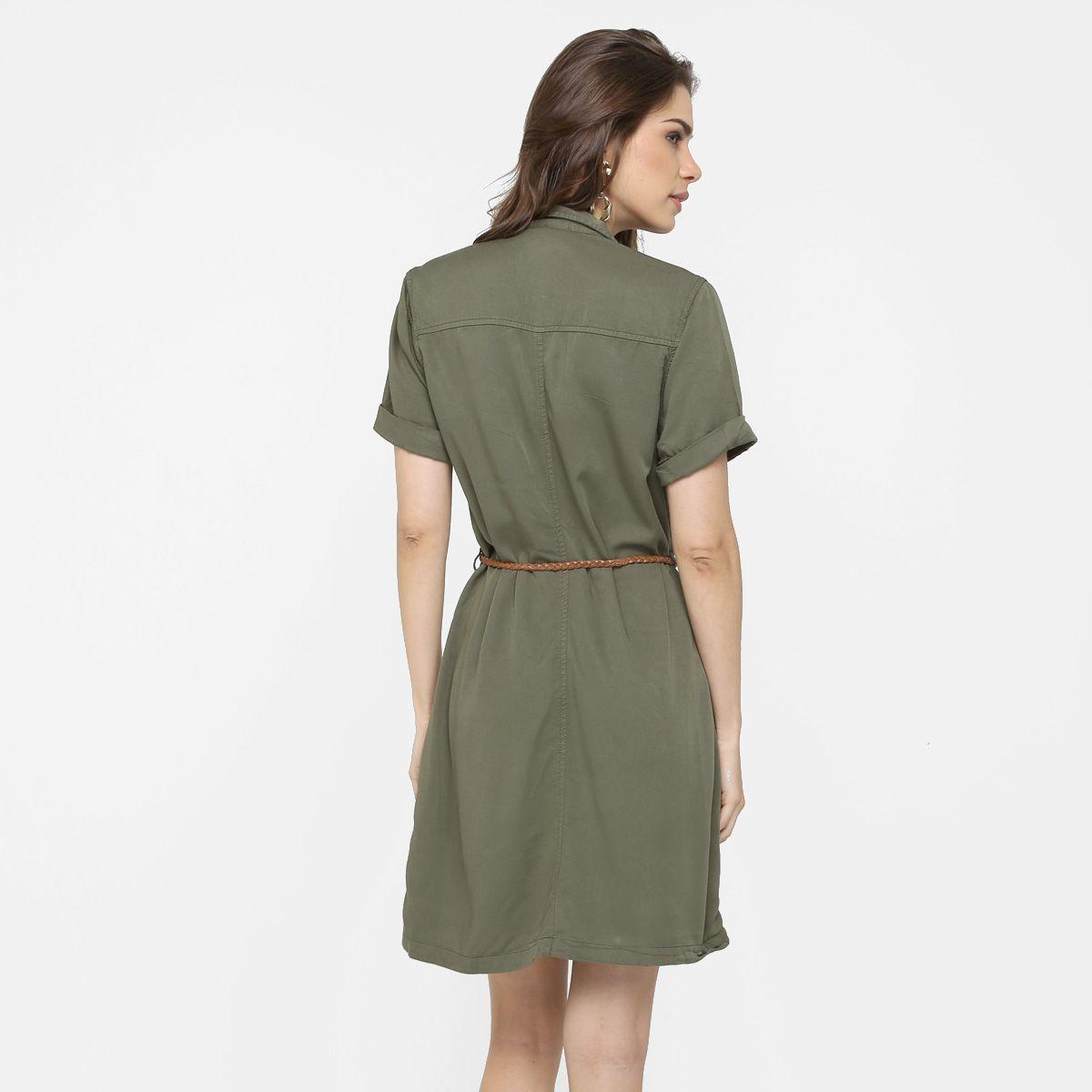 1b83aa997e Vestido Mercatto De Sarja Com Cinto Verde Militar