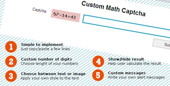 Simple Custom Math Captcha . SimpleCustomMathCaptca is a simple to integrate captcha system, written in PHP, based on mathematical operations like sum or difference between two random