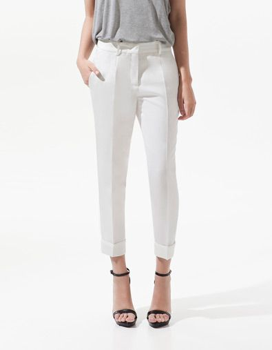 LINEN TROUSERS WITH TURN-UPS - Trousers - Woman - New collection - ZARA