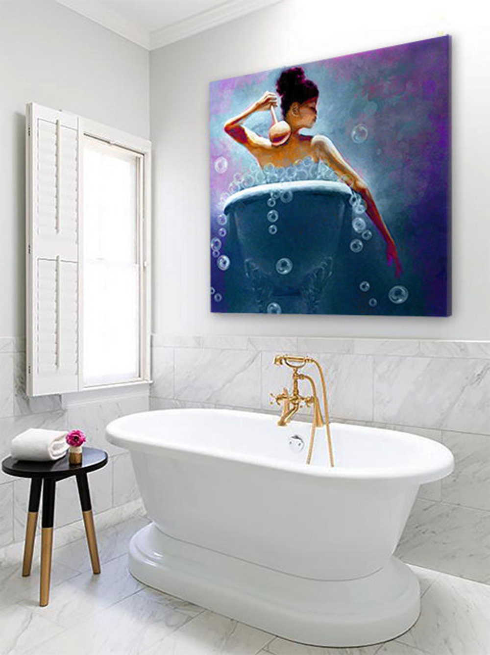 Ebony Bubbles African American Art Bathroom Wall Art Bath Etsy African American Wall Art Bath Wall Art African American Art