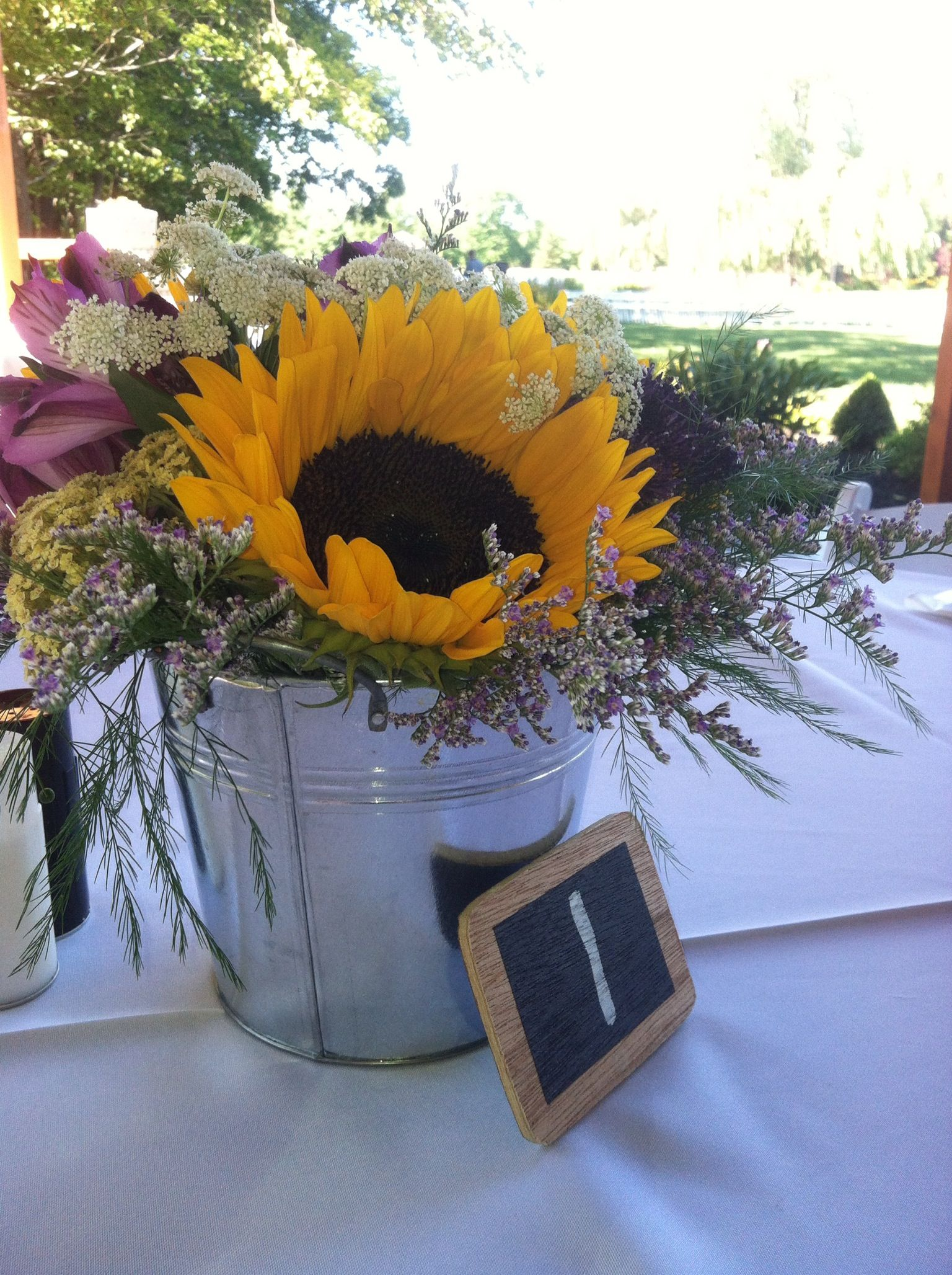 Simple Summer Flowers In A Silver Bucket Make For A Lovely Outdoor