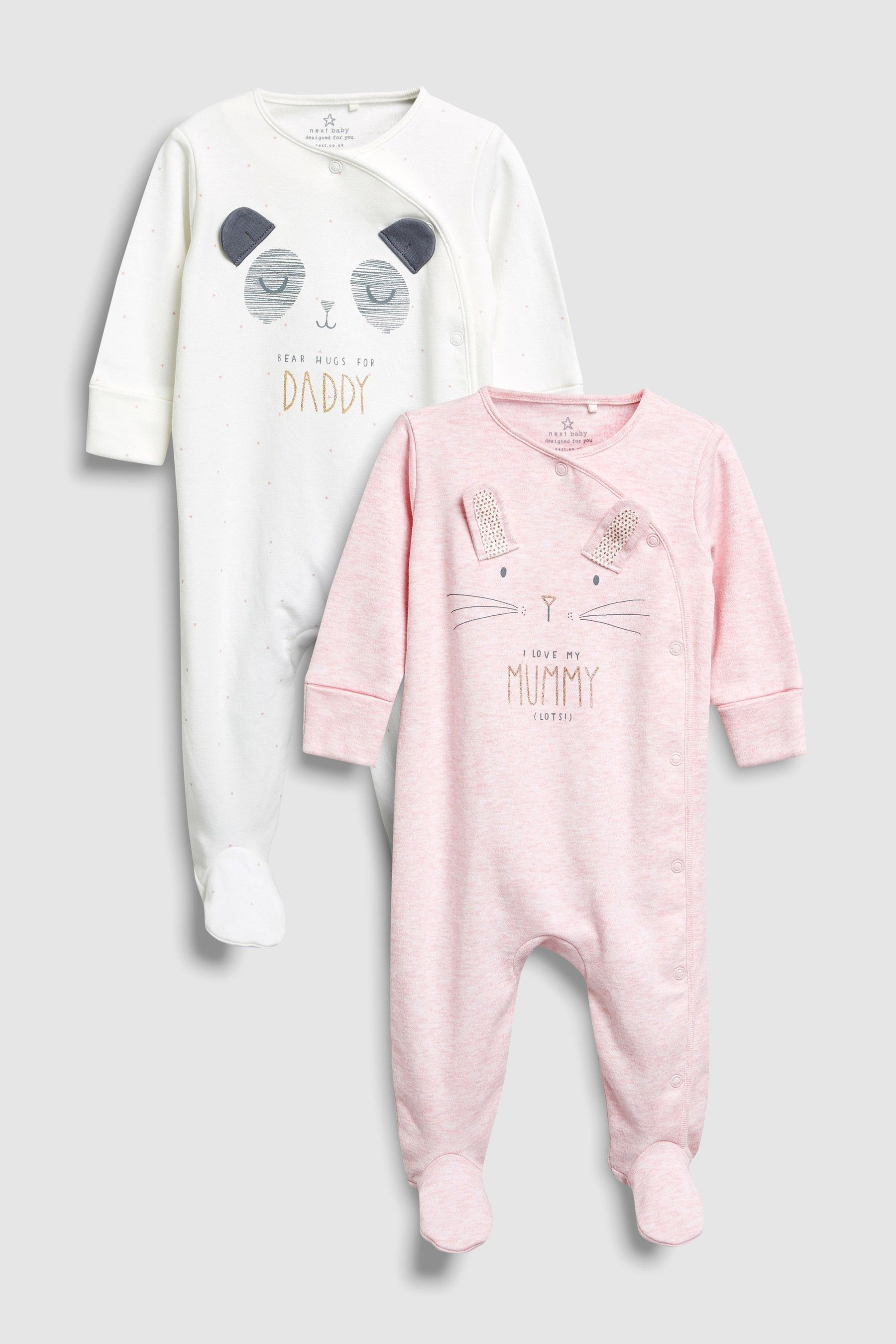 5f9900ebec17 Buy Pink Ecru Character Mummy And Daddy Sleepsuits Two Pack (0mths ...