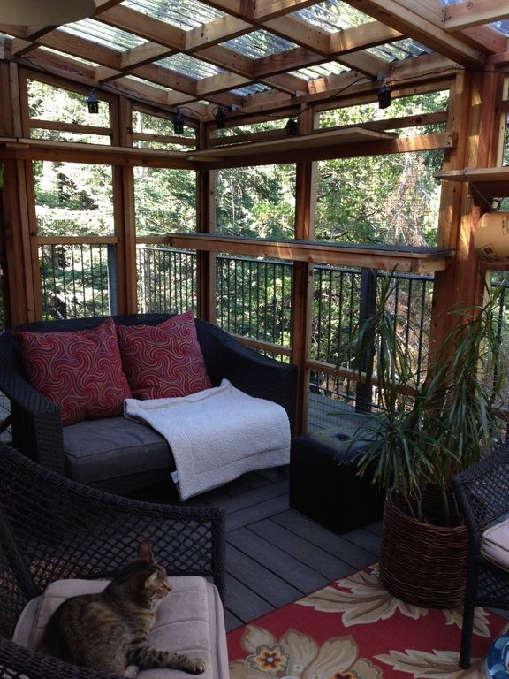 Patio Or Screened Porch: Rustic Porch With Screened Porch, Skylight