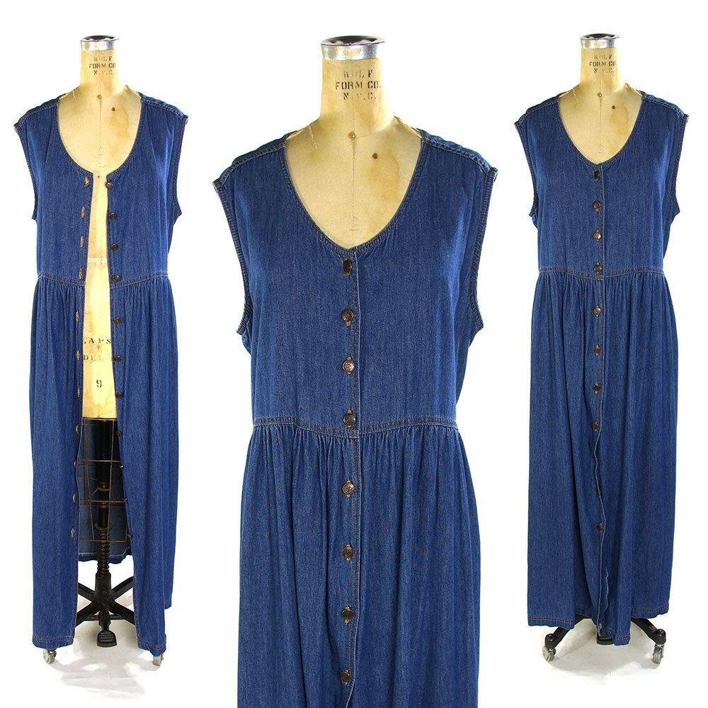 fb9bde5f4ca 90s Denim Maxi Dress   Vintage 1990s Grunge Sundress   Button Down Jeans  Sleeveless Duster   Women s Indigo Blue Long Dress   Large by SpunkVintage