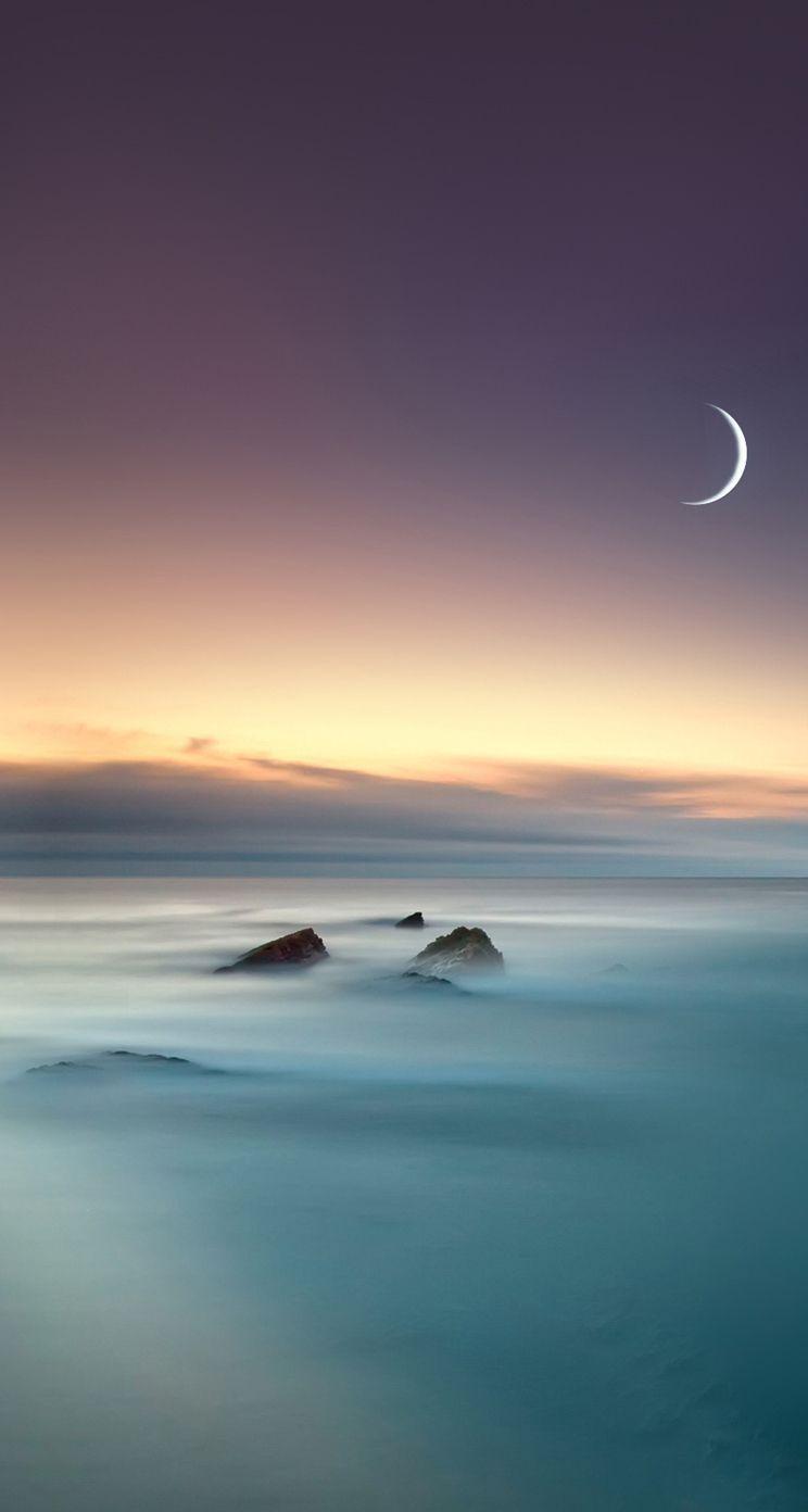 Scenic Lake Fog Mist Moon Eclipse Ios 8 Iphone 5 Wallpaper 4k En