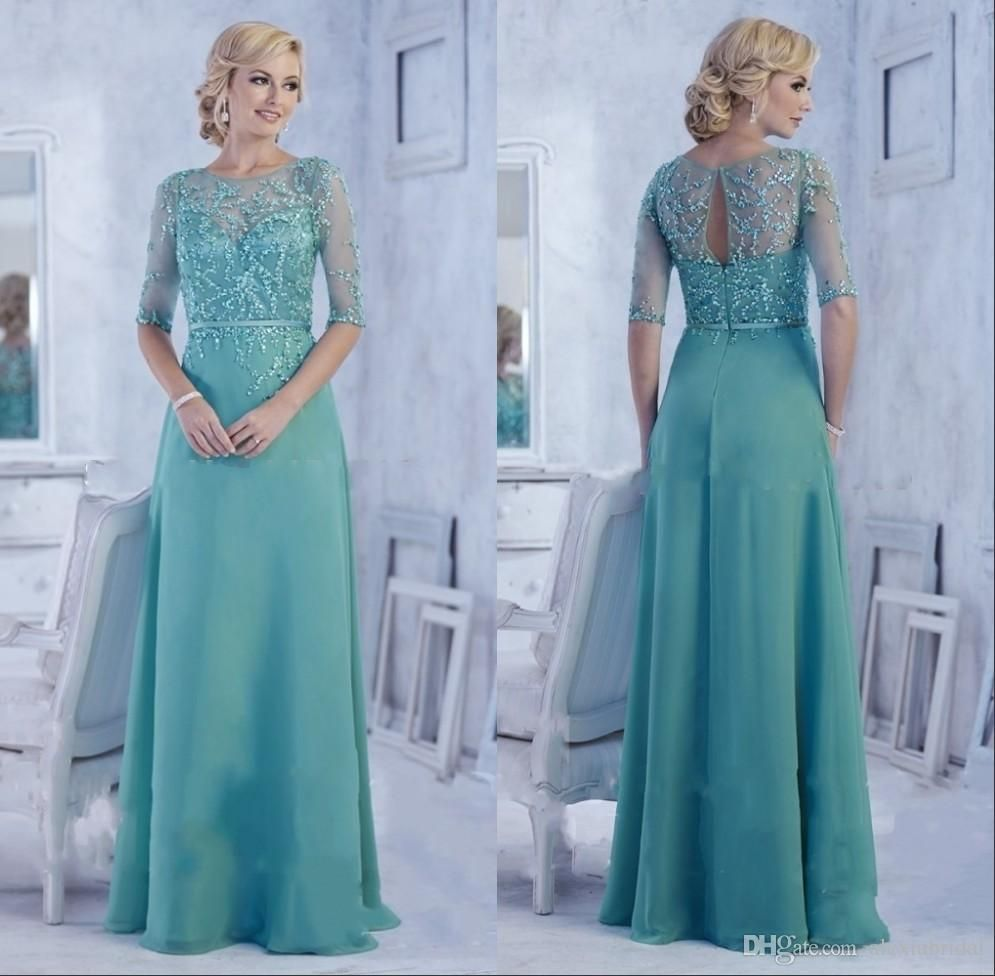 Green Jewel Mother Bride 2015 Plus Size Simple Beads Backless A Line ...