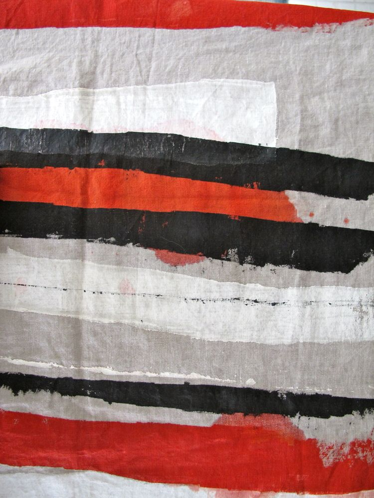Image of hand painted and stitched linen runner red/black, white and natural