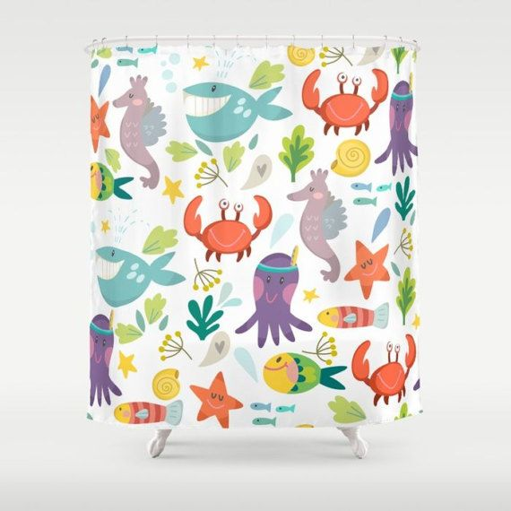 Check Out Under The Sea Shower Curtain Marine Life Nautical Whales Octopus Seahorse Bathroom Crabs Fish