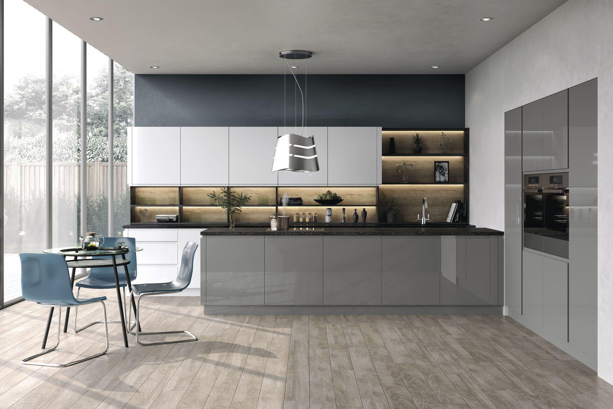 Handless Gloss Kitchen | White gloss kitchen, Grey gloss ...