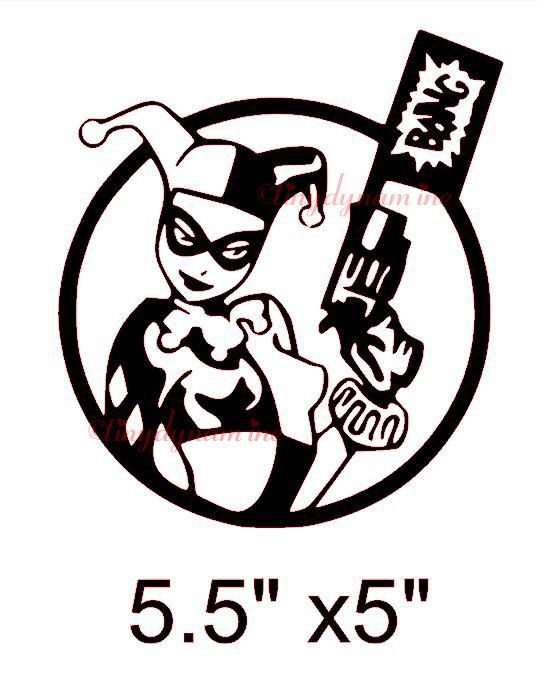 DC Comics Originals Harley Quinn Color Car Window Sticker Decal Family 5/""