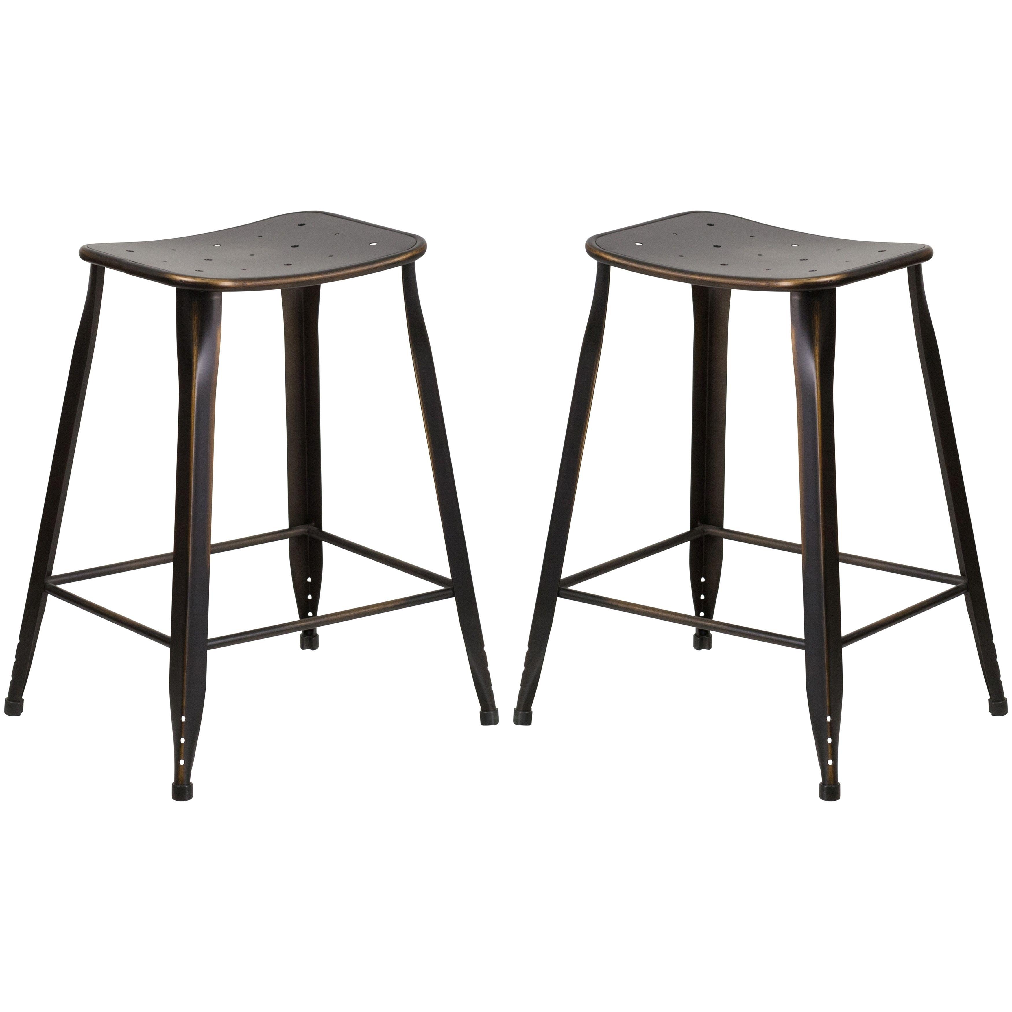 Fabulous Distressed Copper Galvanized Metal 24 Inch Stool 2 Stools Creativecarmelina Interior Chair Design Creativecarmelinacom