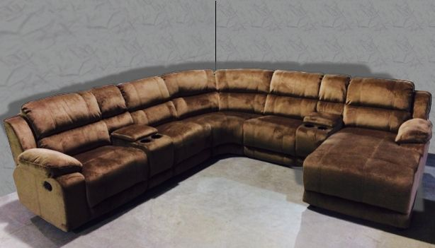 Donna Mocha 7 Piece Modular Sectional Brown Upholstery 2 Recliners 2Storage Consoles Wedge : 7 piece modular sectional sofa - Sectionals, Sofas & Couches