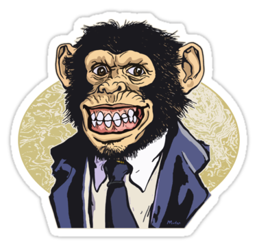 Grinning chimp in a monkey suit die cut sticker grinning chimp by mudge studios
