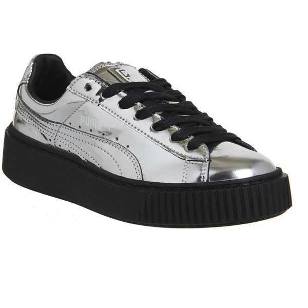 Puma Metallic Basket Platform Trainers In Silver