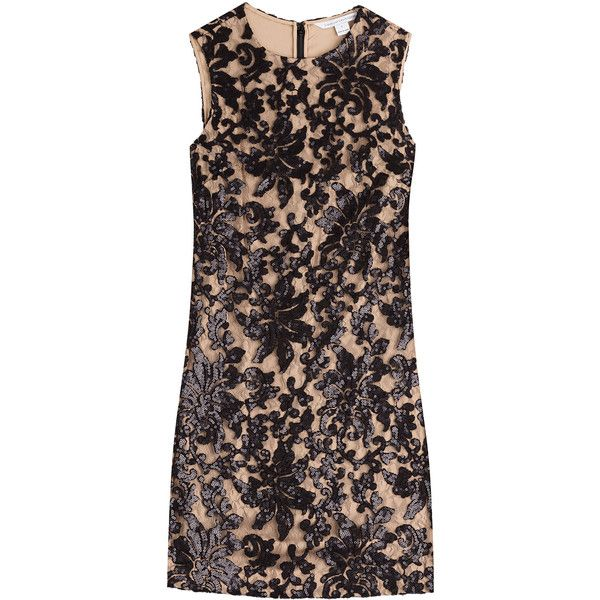 Diane von Furstenberg Sequined Lace Dress featuring polyvore women's fashion clothing dresses brown lace dress holiday party dresses lace shift dress night out dresses polka dot dress