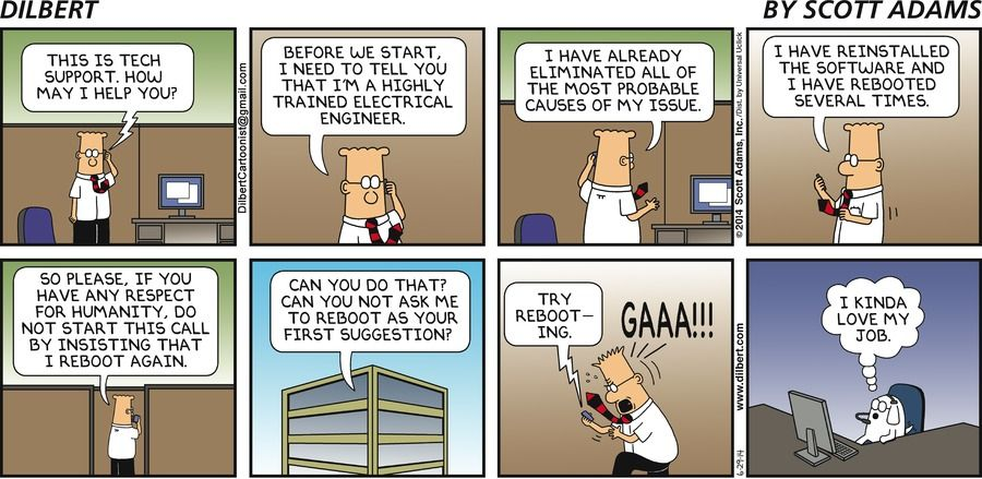 Dogbert This is tech support. How may I help you? Dilbert