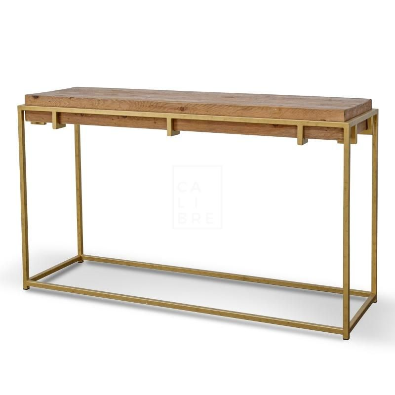 Rylan Reclaimed Timber Console Table Natural Gold In 2020 Wooden Console Table Console Table Reclaimed Timber