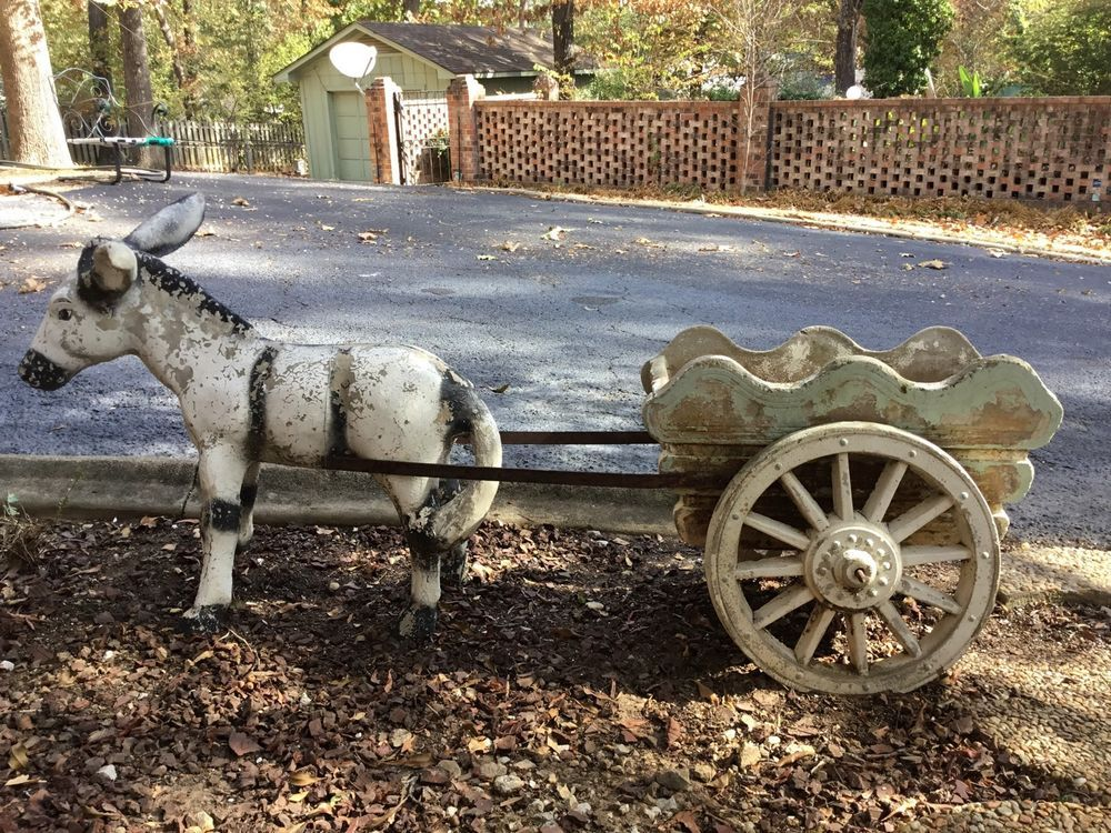 Vintage Concrete Donkey Amp Wagon Statue Weathered Garden