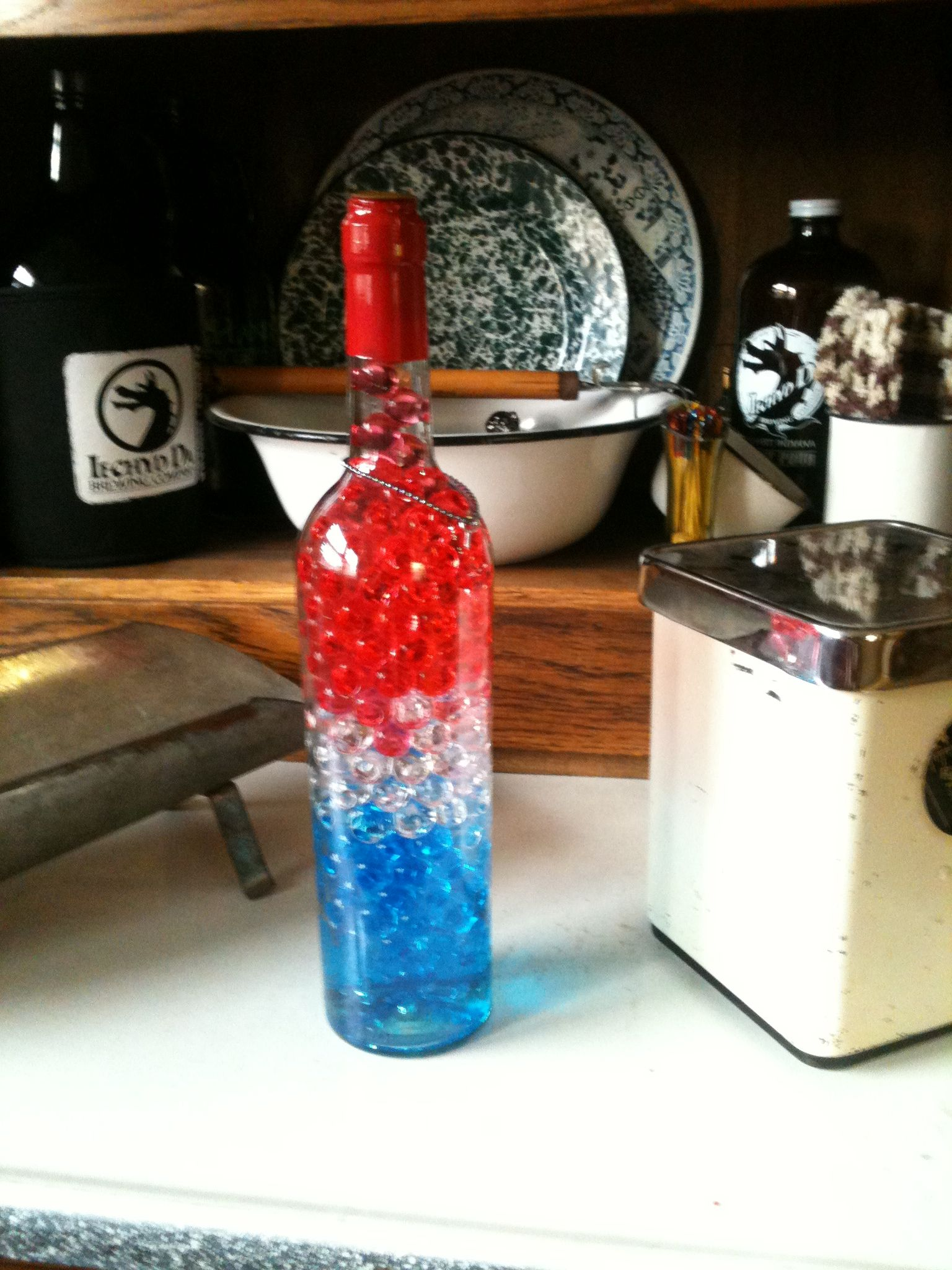 Pin By Ronnie Scott On Thing I Made With Wine Bottles Alcohol Bottles Liquor Bottle Crafts Wine Bottle Crafts Blue Wine Bottles