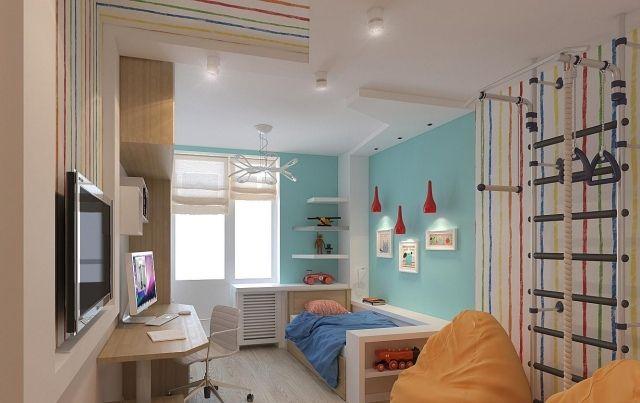 kinderzimmer gestaltung hellblaue wandfarbe akzente bunte streifen, Wohnideen design