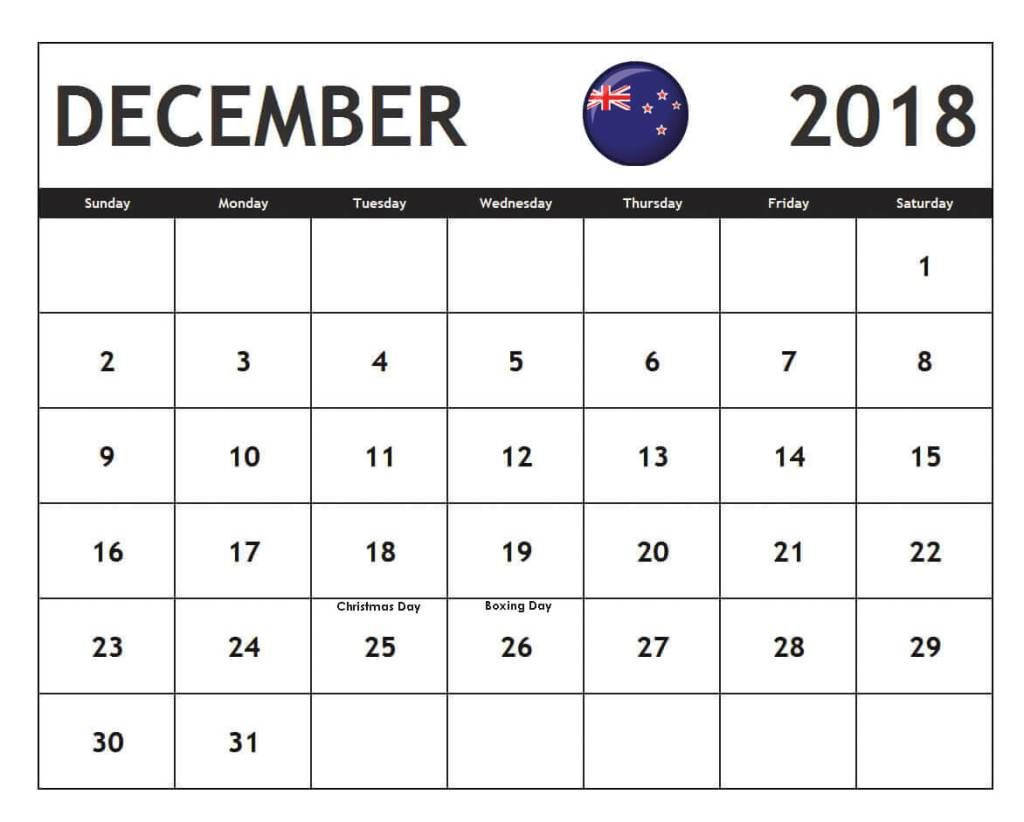 december 2018 calendar new zealand