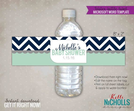 Mint  Navy Chevron Water Bottle Label Template For Baby Showers