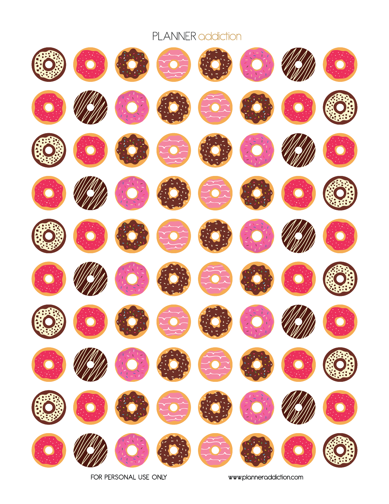 Free Printable Planner Stickers - Donuts | Planner | Pinterest ...