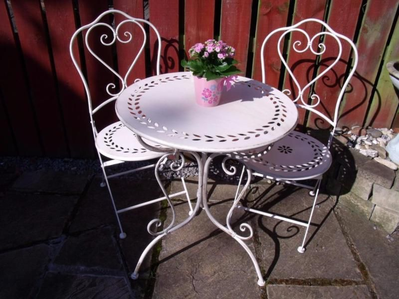 bistro set garden patio furniture space saving table and chairs shabby white 2