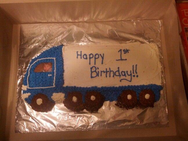 Tractor Trailer Wilson Cake Pan Truck 1st Birthday Cake Dessert